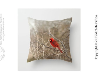 Bright Red Male Cardinal Pillow Cover Tans Browns Pop of Red Bird in Tree Branches Throw Pillow Cover