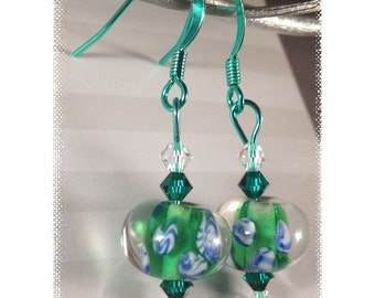 Flowers of Green and Blue ColorSparx Earrings--Lampwork Glass Floral Beads with Swarovski  Crystals on Shiny Green Metal