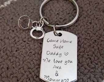 Come Home Safe Key Chain w/ Handcuffs, Be Safe Daddy Key Chain, Handstamp, Police Officer Gift, Be Safe Gift