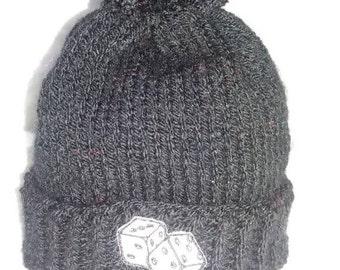 Baby knitted pom pom hat black
