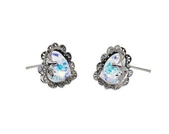 Elegant love crystal earrings