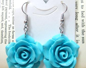Sky Blue Rose Dangle Earrings