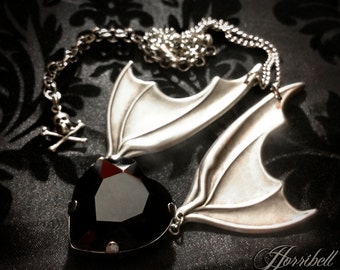 Bat Wing Necklace with Black Heart // Gothic Wedding // Halloween Wedding Jewelry // Gothic Necklace // Bat Necklace // Black Heart Necklace