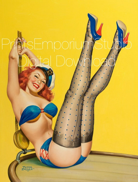Pin up art digital Pin up girl erotic painting vintage 1950s