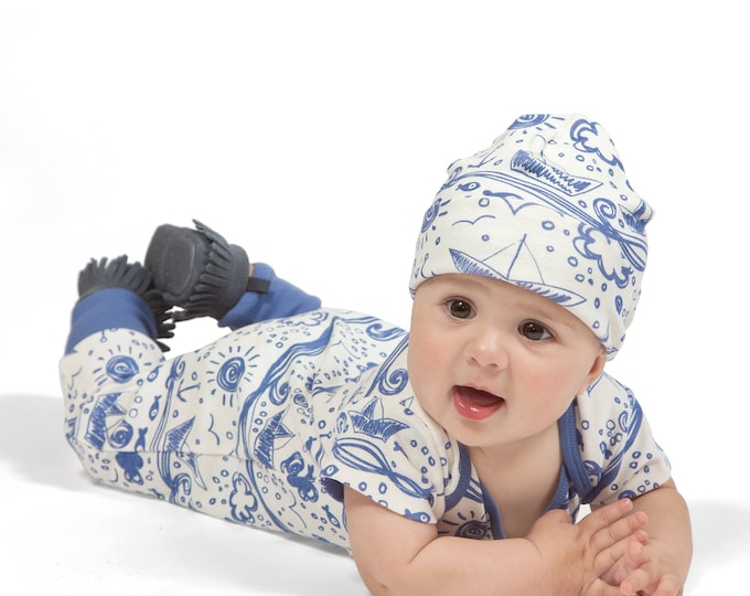 SALE! Newborn Baby Boy Coming Home Outfit Summer, Baby Boy Blue Ocean Romper, Baby Girl Bodysuit, Infant Summer Onesie Set, Waves, Tesa Babe