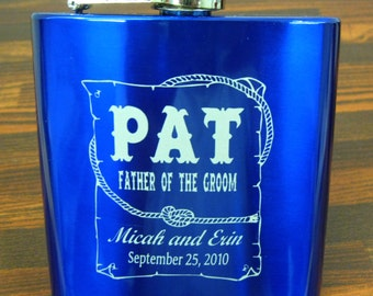 FLASK - Personalized 6 oz Stainless Flask, BLUE, Father of the Groom, Engraved,  Western Theme