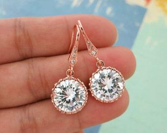 Pamela - Rose Gold Clear Large Cubic Zirconia Crystal, Big Diamond Earrings, Gold Weddings Earrings, Bridal Earrings, Bridesmaid Earrings