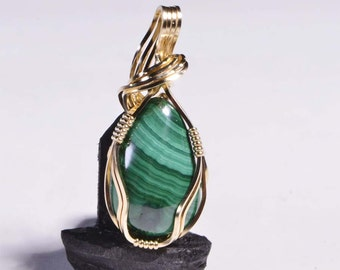 Wire Wrapped Pendant Malachite 14K Gold Filled Gemstone Birthday Gift For Her