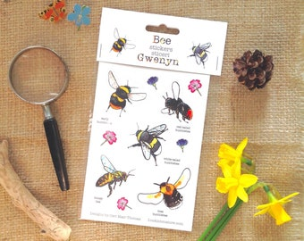 Bee stickers, Bumblebee and honey bee. British bee. Whole sale available