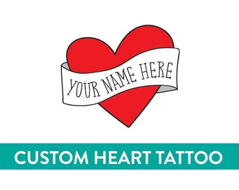fathers day personalized temporary tattoo custom heart tattoo fake tattoo retro vintage americana tattoo red heart banner custom name tattoo