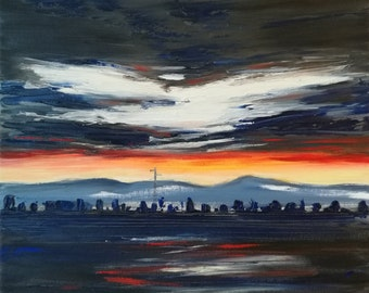 picture-sunset-plain-skyline-panorama-oil paintings-landscape painting-oil on canvas-piece-nature-red-blue-30 x 30