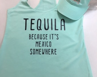 TEQUILA french terry racer back tank top
