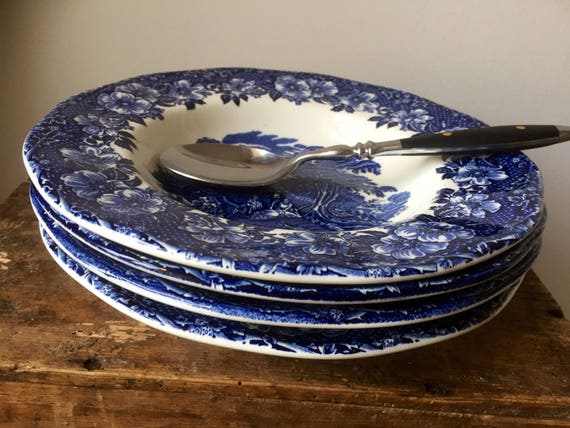 Set of 4/Enoch/wedgewood /Woodland /blue and white/blue unicorn/soup/bowls/