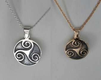 Sterling Silver or Bronze Celtic Triskele Pendant Triskele Necklace Men's Triskelion Necklace Women's Triskele Pendant Made in Montana Gift