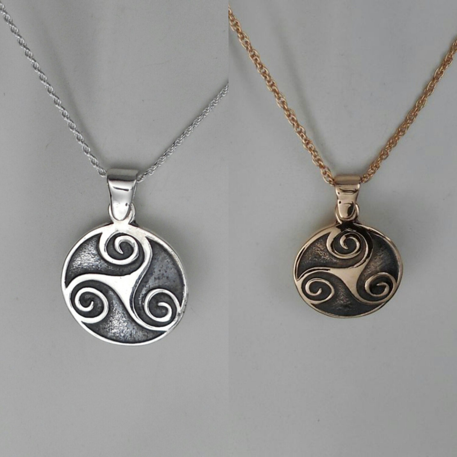 rosewood wooden pendant triskele necklace silver celtic product