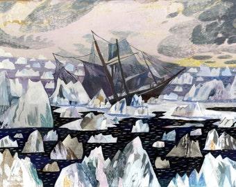 Nautical Print Shackleton Sea Illustration 16.5 x 11.7 inch print