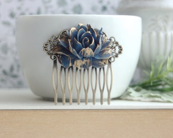 Dark Blue Gold Tipped Rose Comb. Vintage Corn Blue Wedding, Rustic Navy Blue Gold Wedding, Bridesmaids Something Blue Wedding Vintage Blue