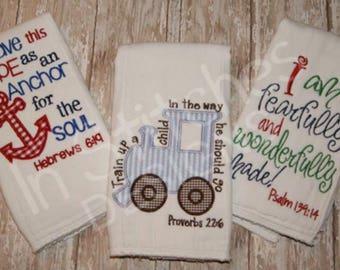 Set of 3 Christian burp cloths