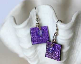 Purple Dichroic Fused Glass Earring, Drop Earrings, Dangle Earrings, E0172, GetGlassy