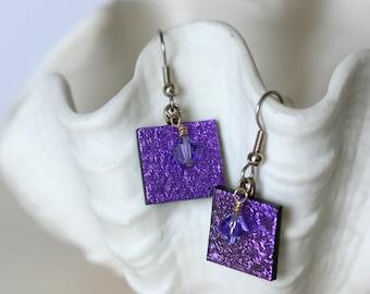 Purple Dichroic Fused Glass Earring, Drop Earrings, Dangle Earrings, E0172, GetGlassy