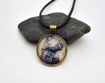 Steampunk necklace for men, steampunk cat necklace, cat gears charm necklace, cat aviator goggles necklace, steampunk goggles, gift for men