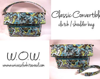 Classic Convertible Clutch / Shoulder Bag PDF Sewing Pattern