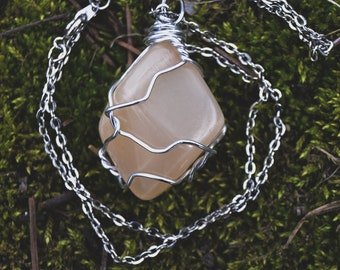 Tumbled Peach Moonstone Handmade Wire Wrap Pendant Necklace