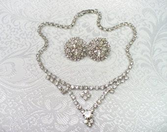 Vintage BRIDAL RHINESTONE necklace and earring set - vintage WEDDING - vintage bride - Demi Parure - rhinestones in silvertone - bride
