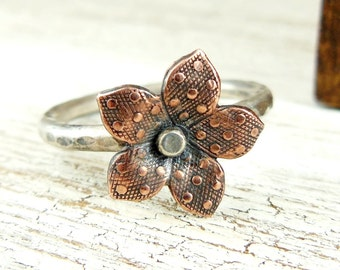 Copper Stacking Ring, Flower Ring, Sterling Silver Hammered Band, Mixed Metal Ring