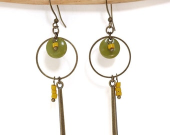 "Earrings ethnic ""Senja"" yellow and khaki with thin charm and rings."