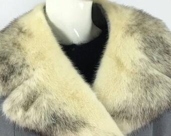 1960s mink collar coat/60s mink collar wool coat