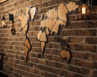 Metal world map etsy terra metal world map metal wall decor metal wall art steel world gumiabroncs Images