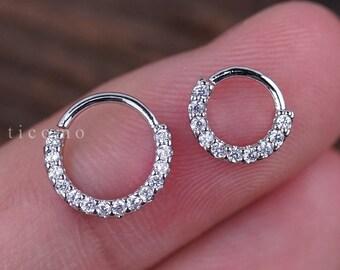 Daith Piercing Hoop Daith Hoop Earring Small Hoop Earrings Septum Ring Septum Piercing Tragus Piercing Rose Gold Silver Clear Zircon