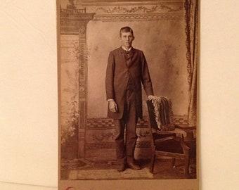 ON SALE Mt. Pulaski Illinois IL Old Vintage Antique Cabinet Card Photo Photograph Young Man Late 1800's