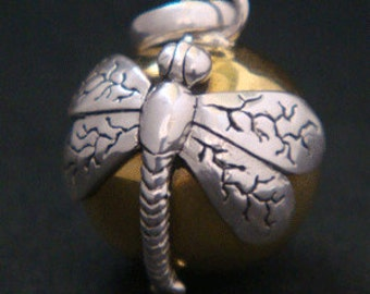 20% OFF - Harmony Ball with a Sterling Silver Dragonfly on a Brass Chime Ball | Bola Necklace, Angel Caller, Pregnancy Gifts, Gift Idea 223