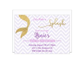 Girl Birthday Party Invitation Printable, Mermaid, Sparkle, Swim Party, Splash, Gold Sparkle