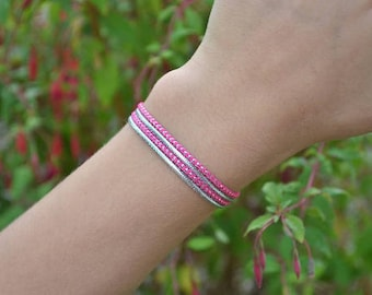 Pink and silver thin Cuff Bracelet