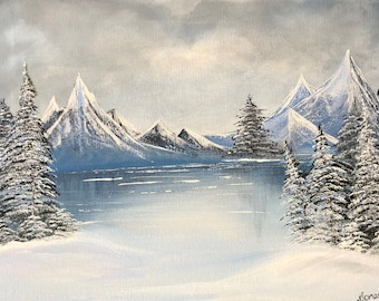 Winter Scene  Original Painting. Snow, mountains, trees and frozen lake painted on canvas with acrylic colors. winter landscape