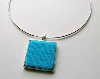 Square Pendant Hand Knitted in Cyan Wool