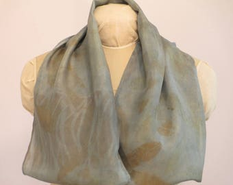 "Silk Infinity Scarf - Indigo and Willow - Natural Dye Eco-Fashion Gift - HAI121707 - 11""x72"" (27 x 182 cm)"