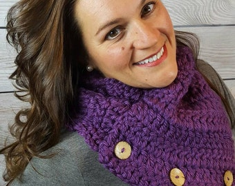 Purple Cowl Scarf, Boston Harbor Scarf, Crochet Neck Warmer, Knit Scarf - Deep Purple with Coconut Buttons - Fast Shipping!