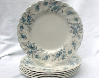 Vintage Myott Staffordshire Sound of Music SIX Dessert Plates M 928 PU Blue Forget Me Nots Swirl