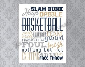 Basketball Word Art/ Printable Sign/ Sports Wall Art/ Basketball Player Gift/ Basketball Team Gift/ Athletic Wall Decor