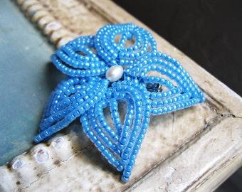 Light Blue Beaded Flower Hair Clip ~ French Beaded Flower ~ Blue Hair Accessory ~ Something Blue Bridal Hair Clip