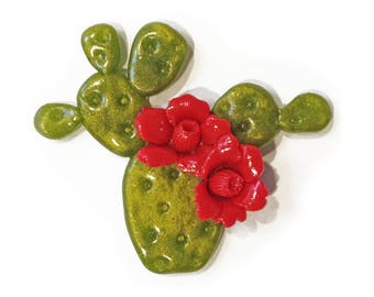 Blooming Prickly Pear Cactus Brooch - Red and Olive