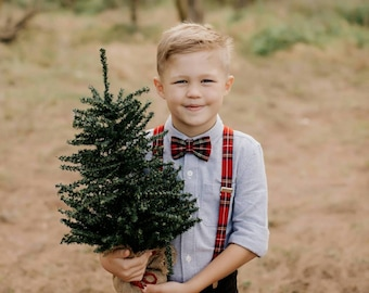 Royal Stewart Bow Tie and Suspenders, Christmas Photo Prop Boy Suspenders Bow Tie, Holiday Red Plaid Bow Tie, Holiday Red Plaid Braces