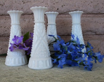 Vintage Milk Glass Short Bud Vases Wedding Anniversary Birthday Sweet 16 Quinceanera Bat Mitzvah Special Occasion Parties