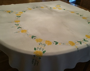 Vintage Square Shaped Yellow Flowered tablecloth, yellow and green, card tablecloth, machine