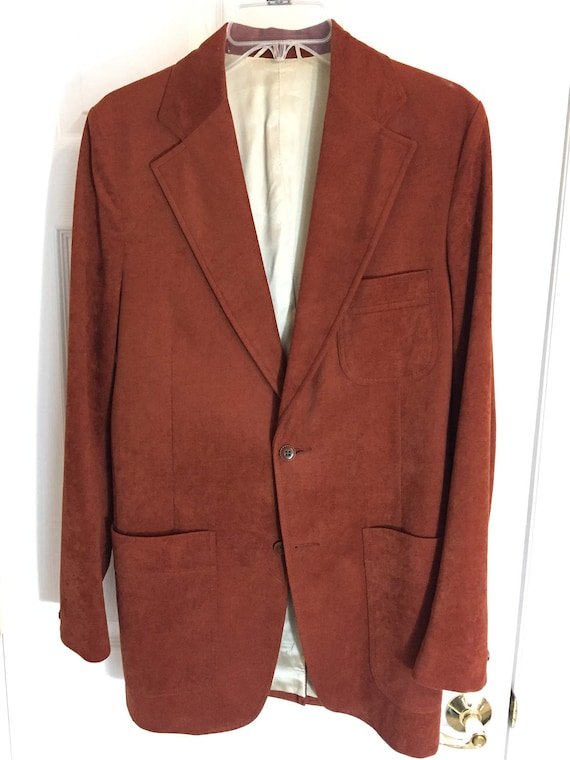 1970's Men's Lester's Orange/Brown Blazer/Sport coat 2uXfw