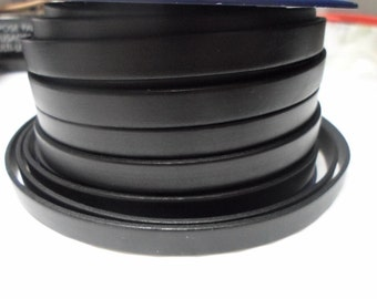 1 Meter 10mm Flat Black Leather Cord, Jewelry Making Supplies